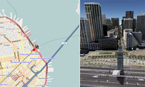 MapFish on the left, Google Earth API on the right.