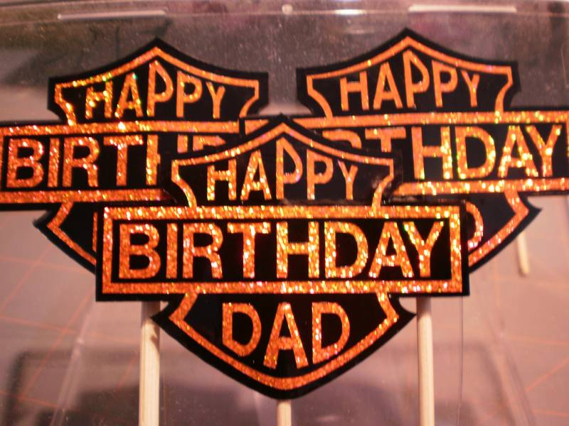 HARLEY DAD BIRTHDAY CUPCAKE TOPPER By Cr8zyscrapper At