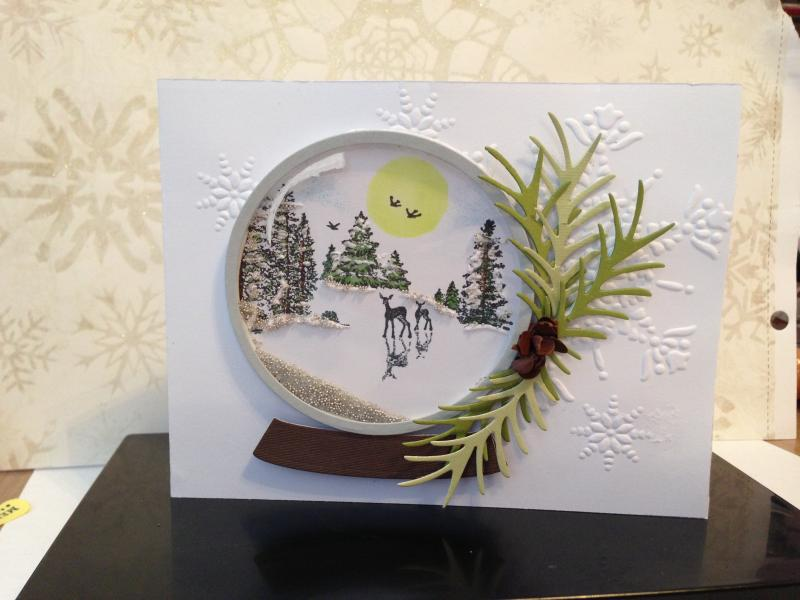 Snow globe shaker card by okimus542  at Splitcoaststampers