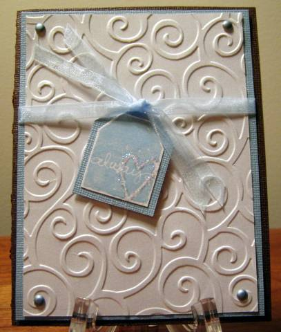 Wedding Card using Cuttlebug Embossing Folder by In the Pines  at Splitcoaststampers