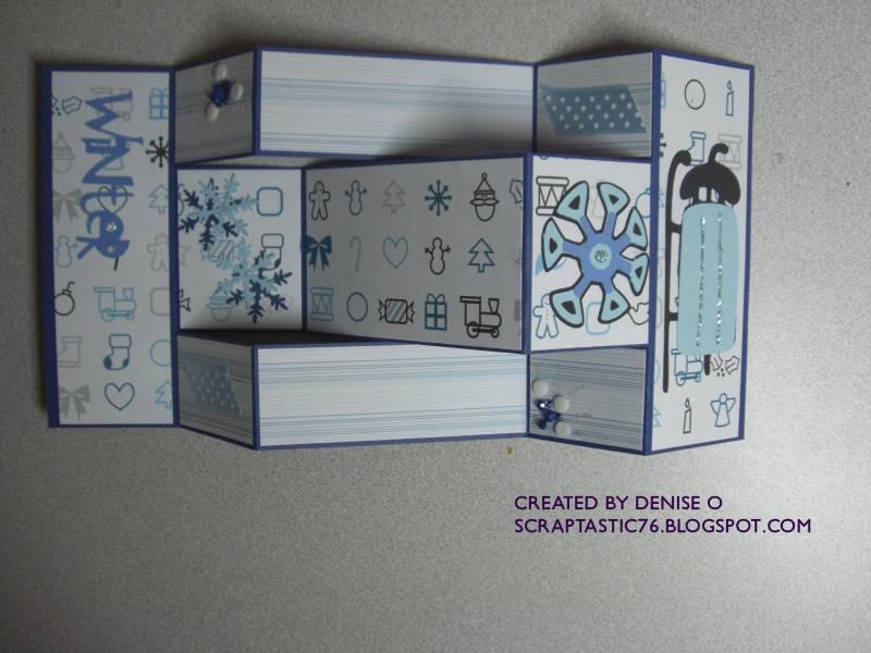 TLC 221 Christmas Tri Fold Shutter Card Open By