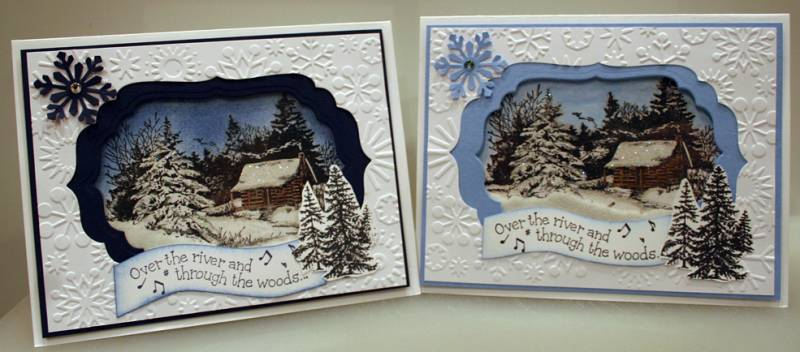 Snowy Cabin Shaker Card By LShip At Splitcoaststampers