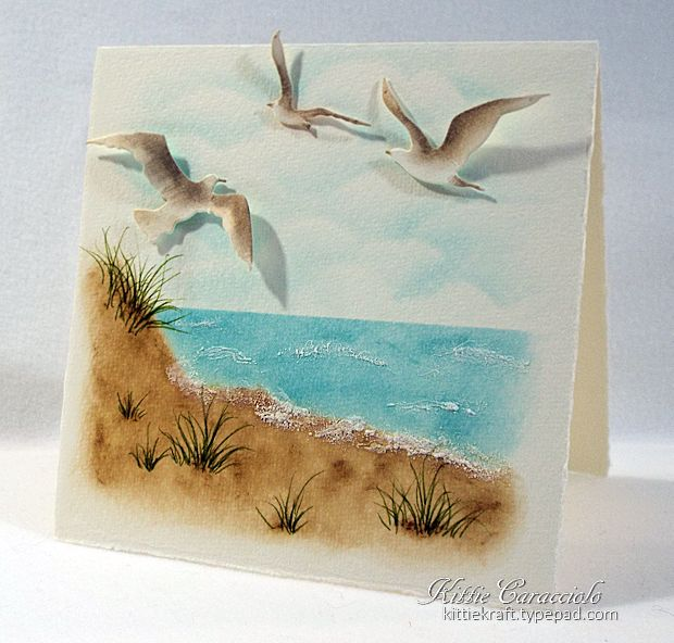 One Layer Beach Scene And Sea Birds By Kittie747 At