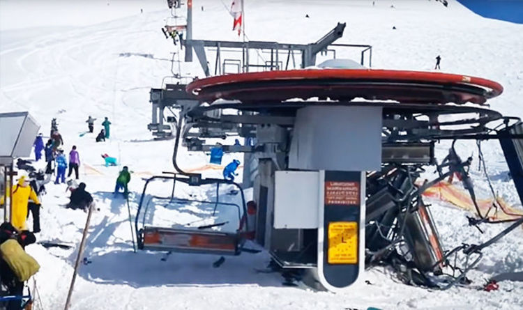 chair lift accident minnie mouse kids ski rollback broken malfunctions causing carnage in watch terrifying moment people throw themselves from after major malfunction