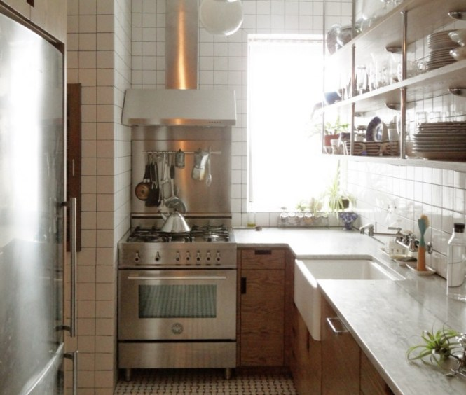 A Small New York City Apartment Kitchen Is Made Light