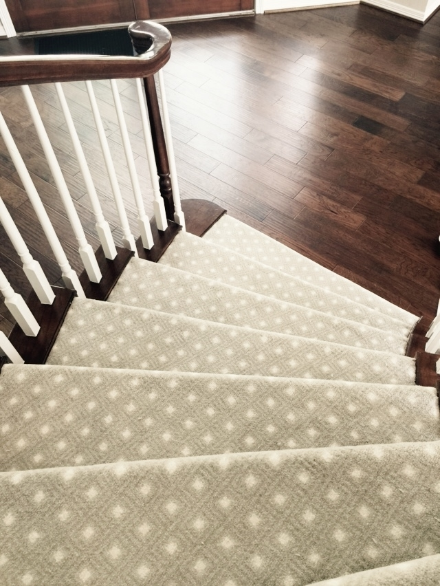 Should I Carpet My Stairs With The Same Carpet I Use Upstairs   Different Carpet On Stairs To Landing   Des Kelly   Striped Carpet   Wood   Grey Carpet   Flooring