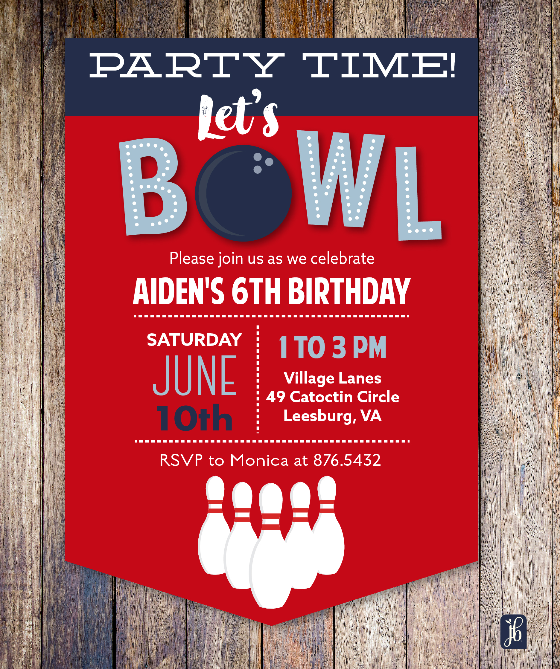 bowling party custom invite