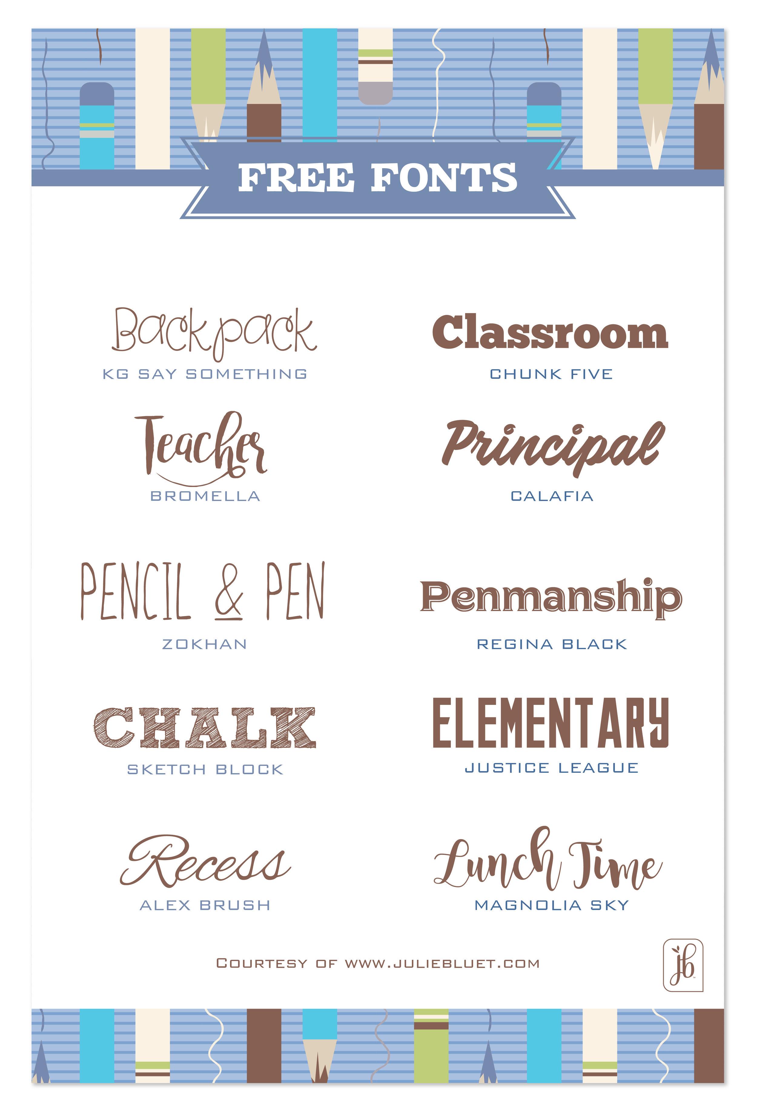 Elementary School Font : elementary, school, School, Fonts, Julie, Bluet, Designer, Stationery, Gifts
