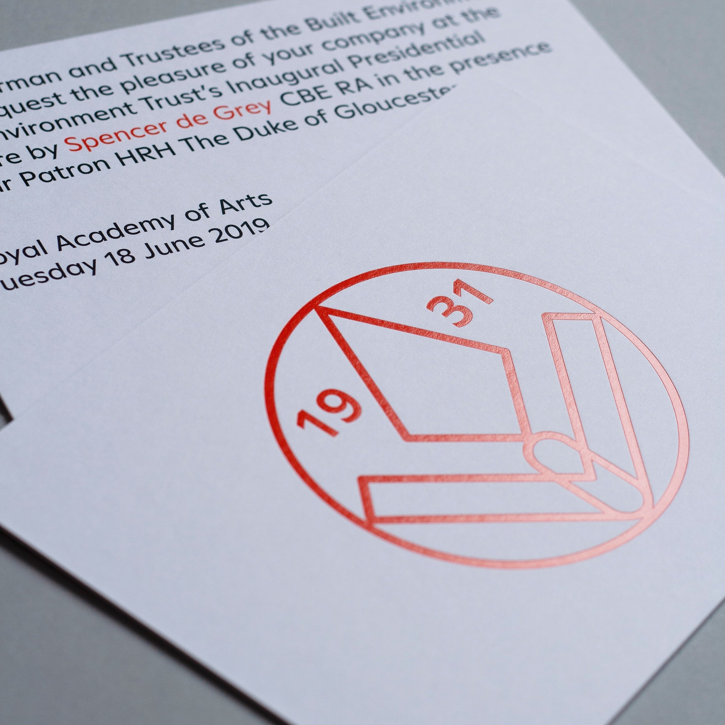 medium resolution of invitations printed for the built environment trust on lace white 1050gsm senses paper foil stamping