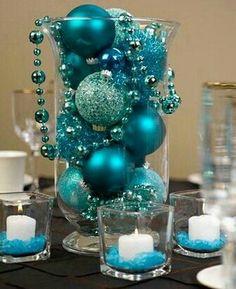 Hurricane Vase Christmas Centerpiece