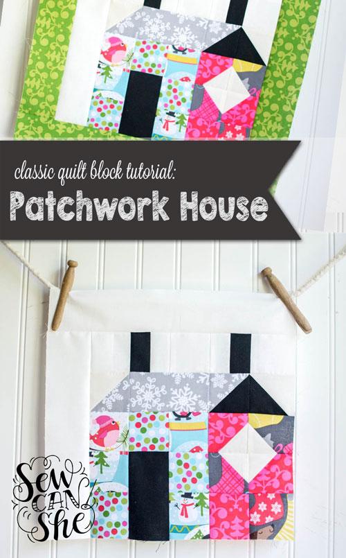 House Quilt Block Patterns : house, quilt, block, patterns, Quilt, Block, Tutorial:, Patchwork, House, Block!, SewCanShe, Sewing, Patterns, Tutorials