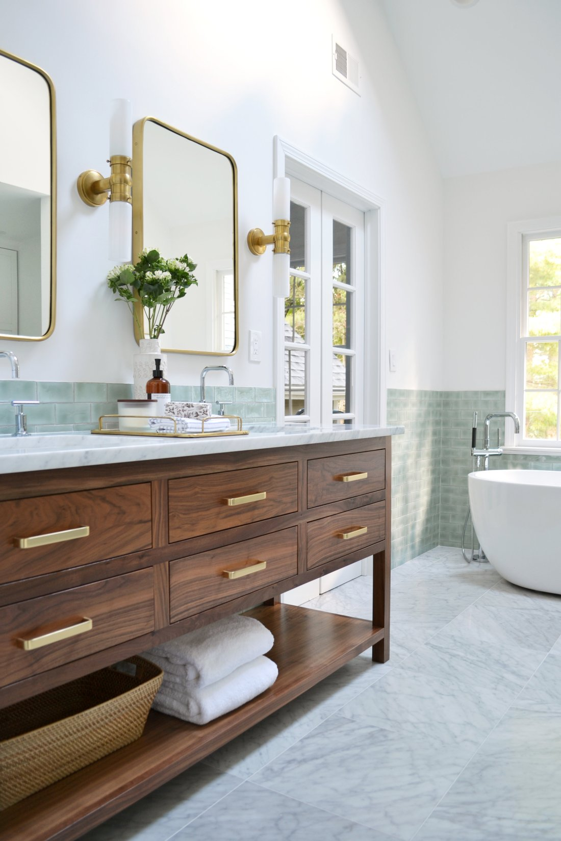 vanity overall angle.jpg | Bathroom Makeover Ideas and Inspiration by popular Virginia life and style blog, Fynes Designs: image of bathroom vanity by Rehabitat Interiors.