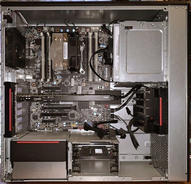 The Lenovo ThinkStation P520 internals with ample space for expansions on RAM, Storage, and GPU [Source: SolidSmack]