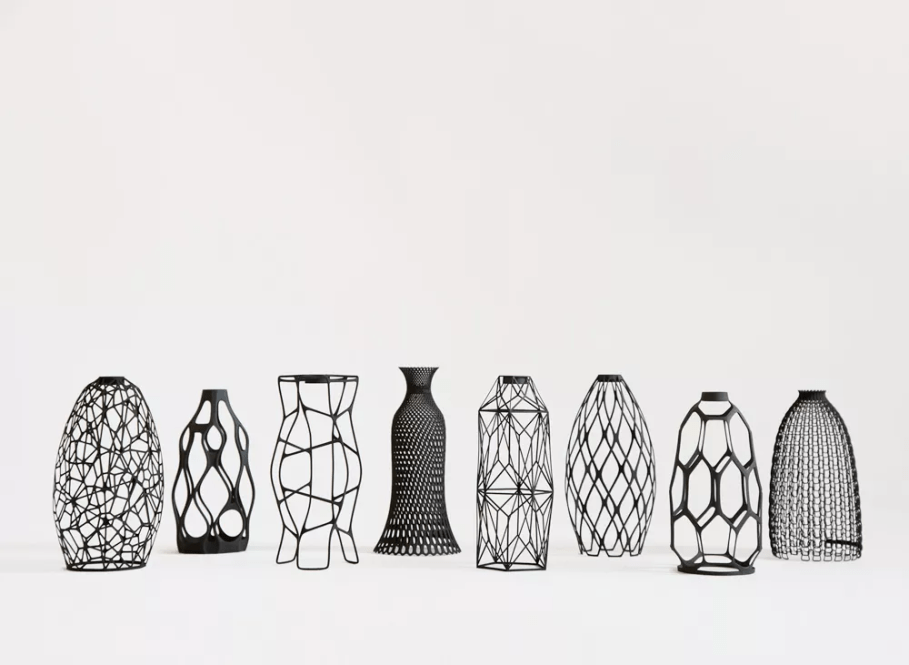 A collection of design vases combining upcycling and 3D printing technology [Source:  Cladio Morelli via Designlibero ]