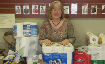 Cathy, sitting in the youth's collection for Bethany House.