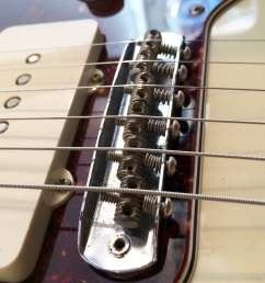 jazzmaster jaguar bridge intonation by adjusting screws at rear [ 1000 x 1000 Pixel ]