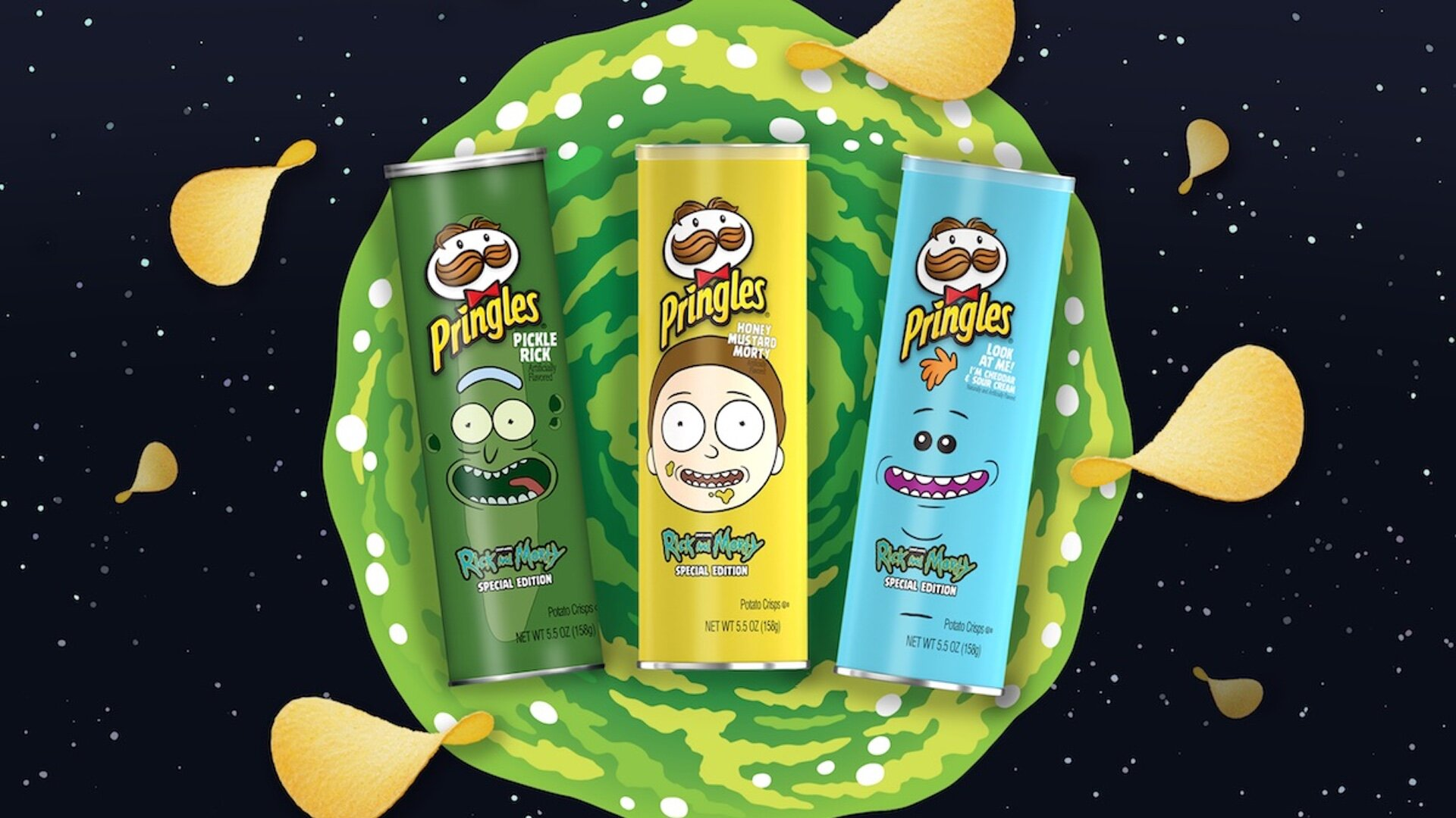 rick and morty inspired potato chips
