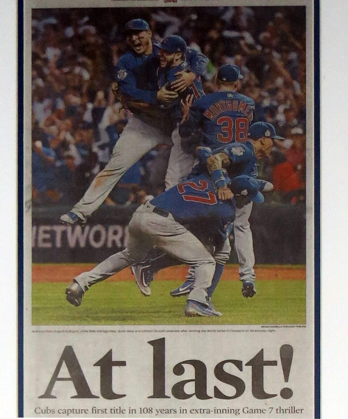 bleachers sports music framing chicago cubs 2016 world series champions chicago tribune newspaper 11 3 16 professionally framed