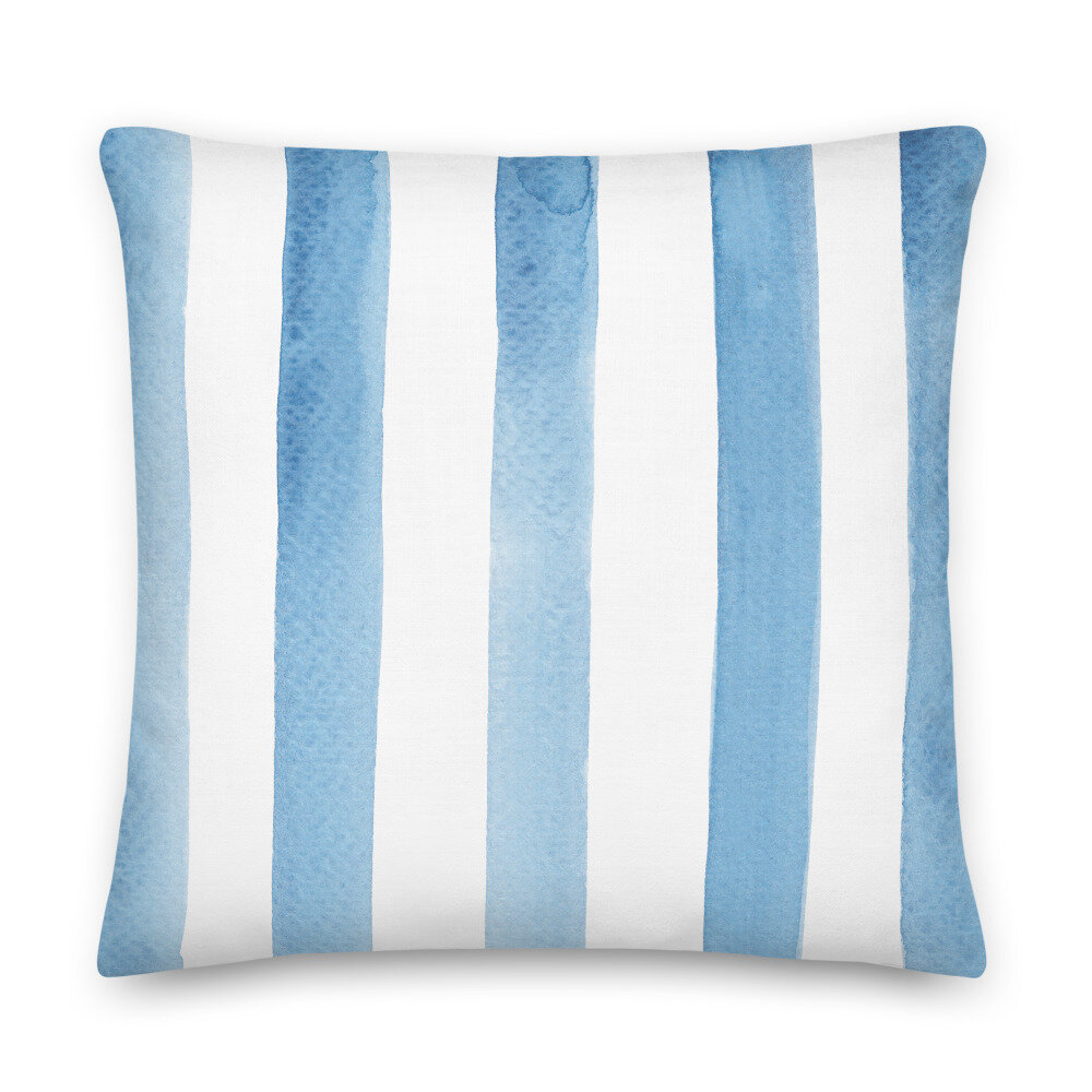painterly stripe pillow in soft blue simply jessica marie