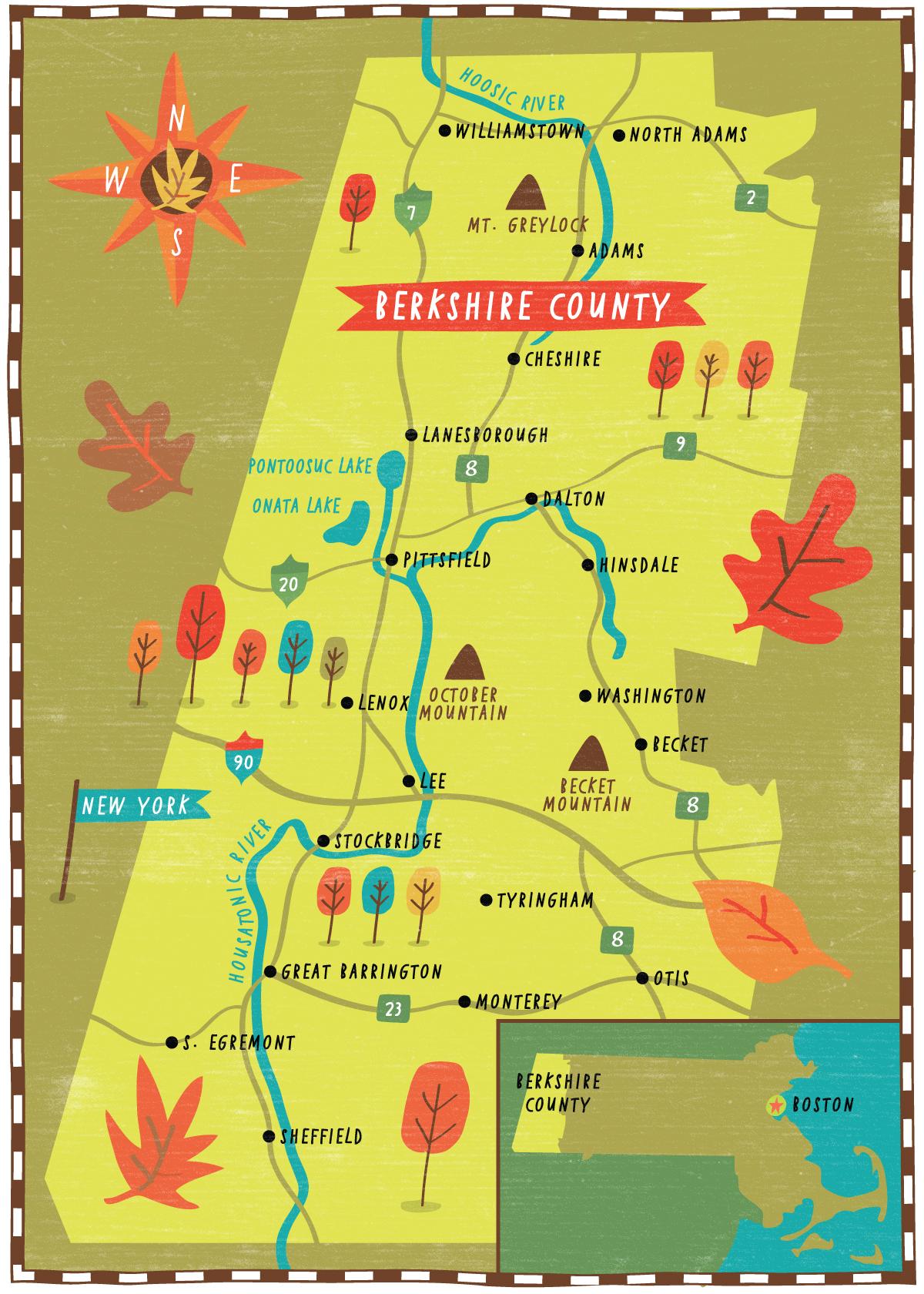 Map Of Berkshires Ma : berkshires, Illustrated, Berkshire, County,, Padavick