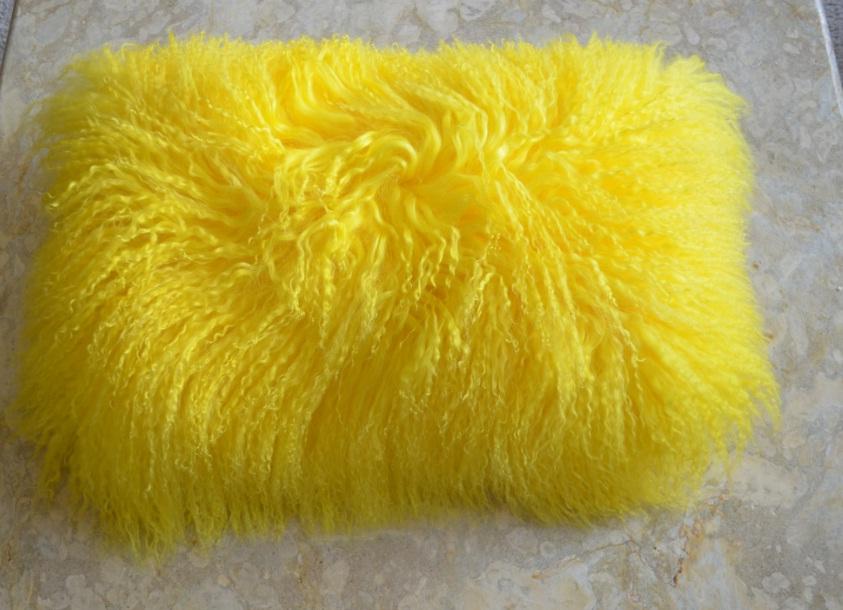 yellow fur pillow tibetan lamb mongolian lamb fur