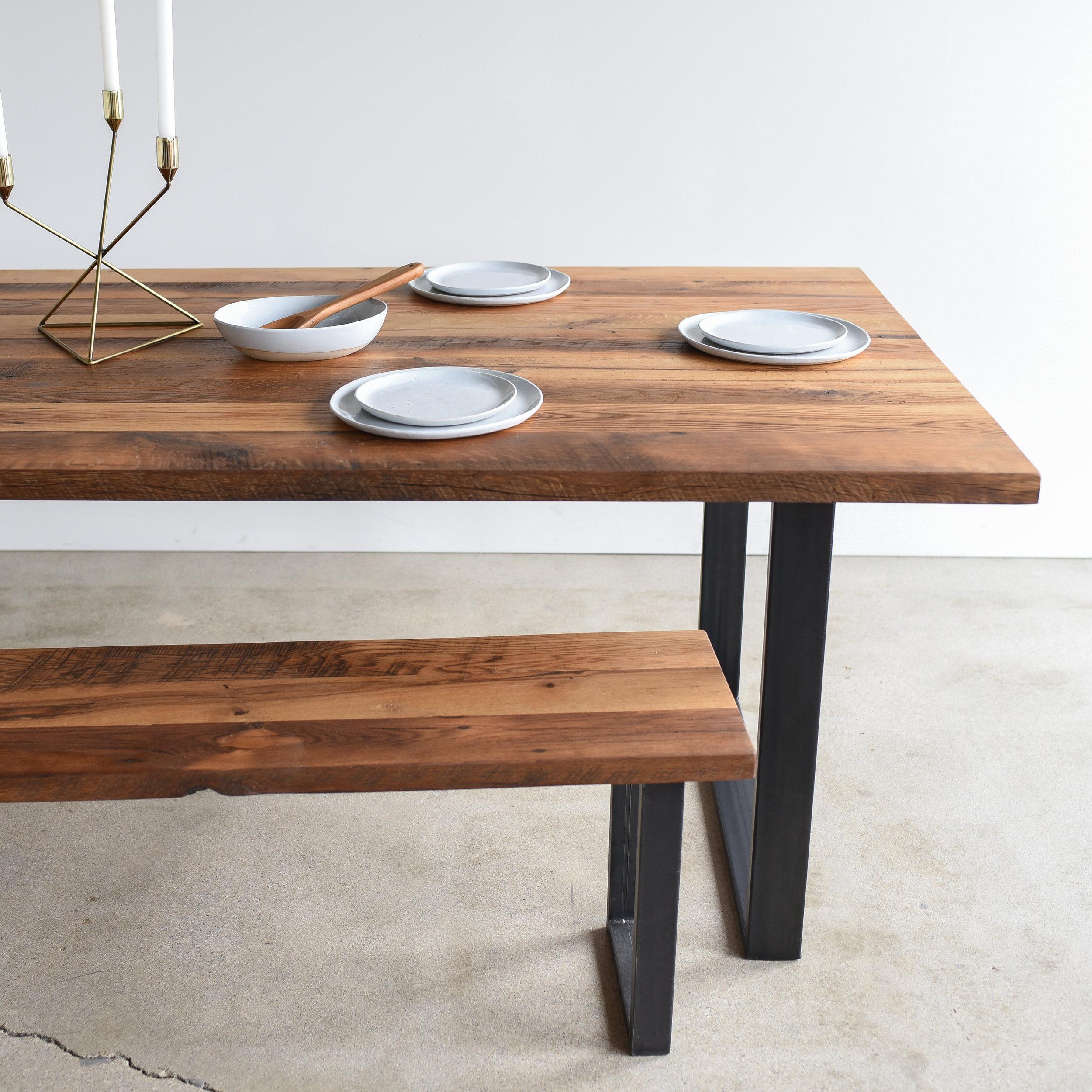 industrial modern dining table u shaped metal legs what we make
