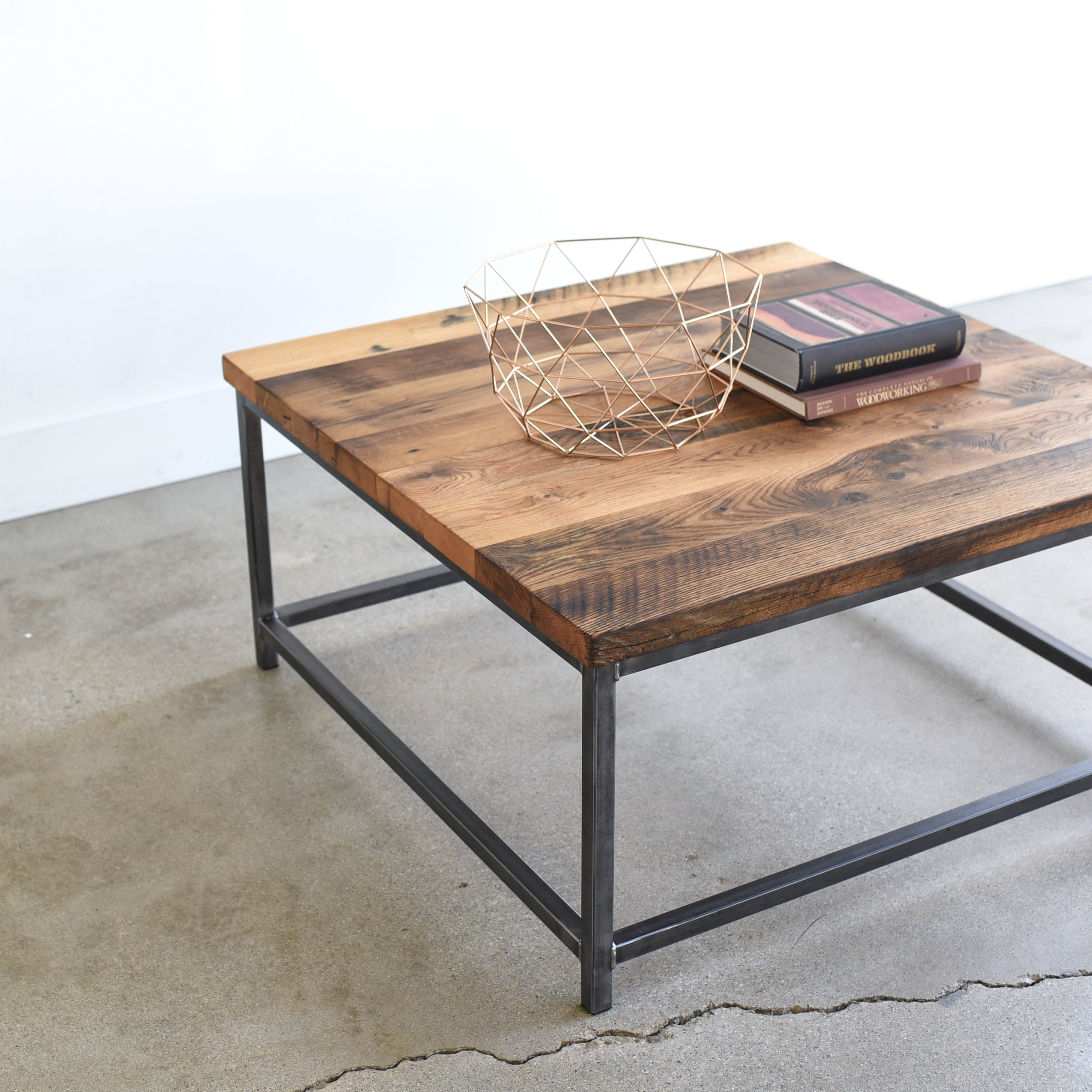 square stoic reclaimed wood coffee table what we make