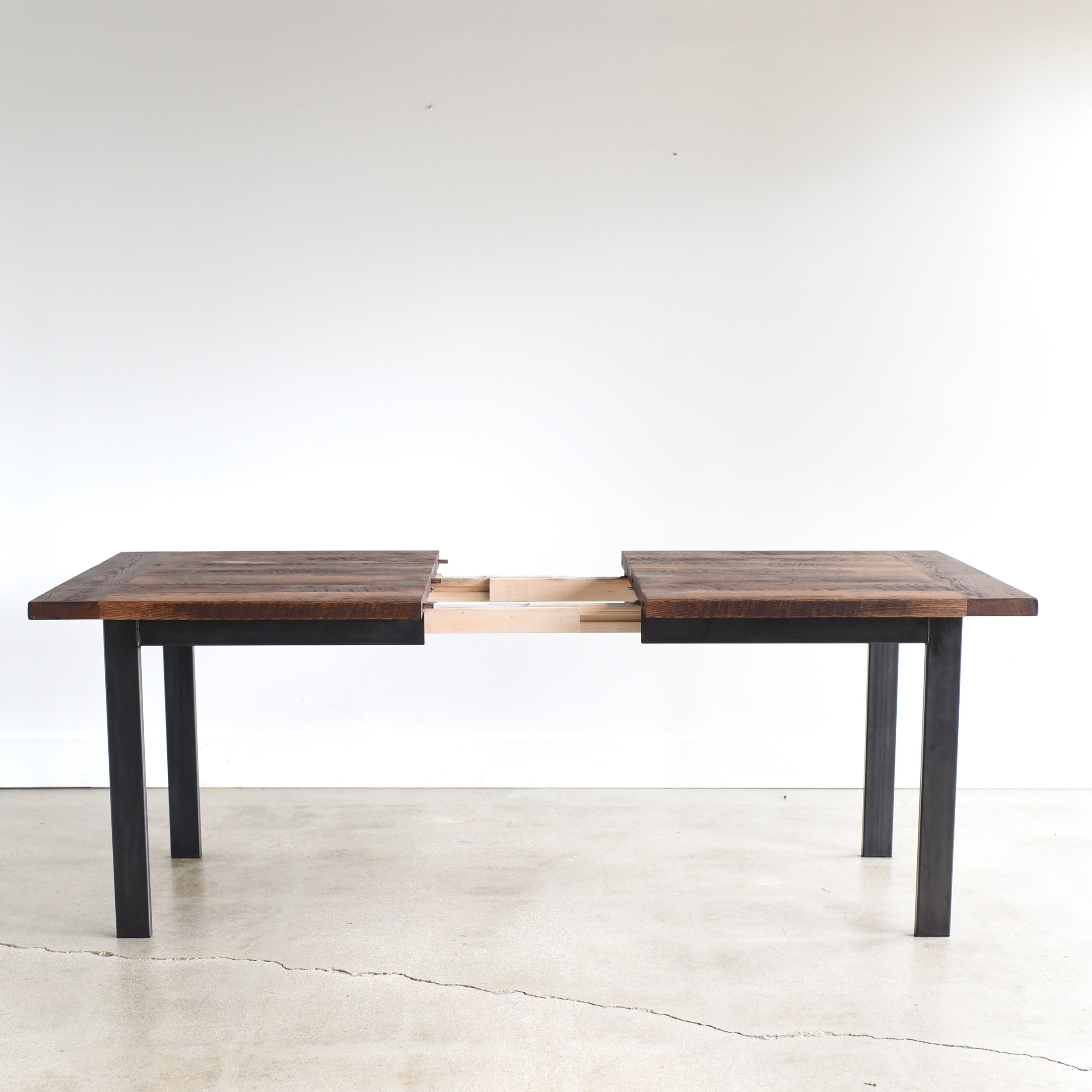 Industrial Reclaimed Wood Extendable Dining Table What We Make
