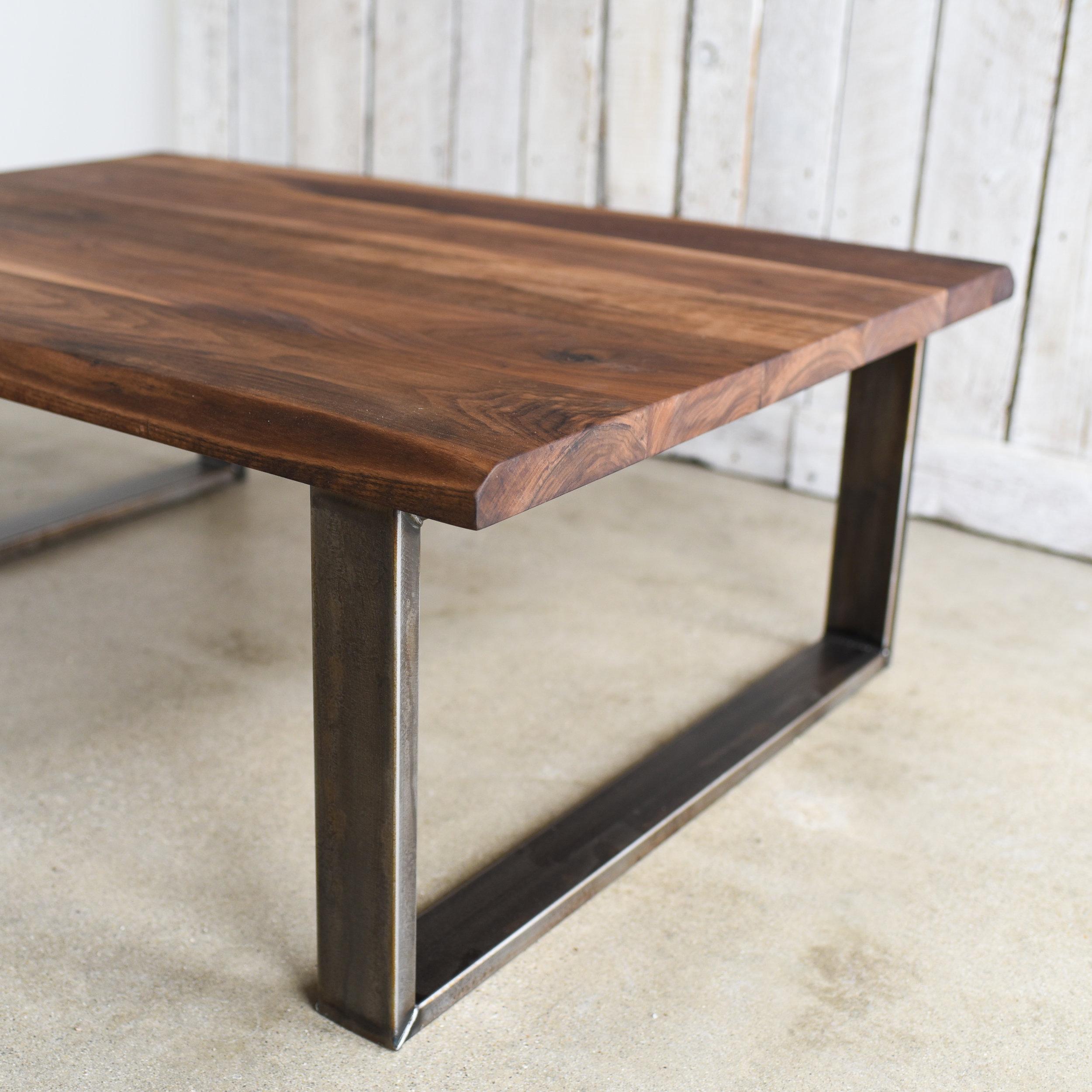 walnut live edge coffee table industrial u shaped steel legs what we make