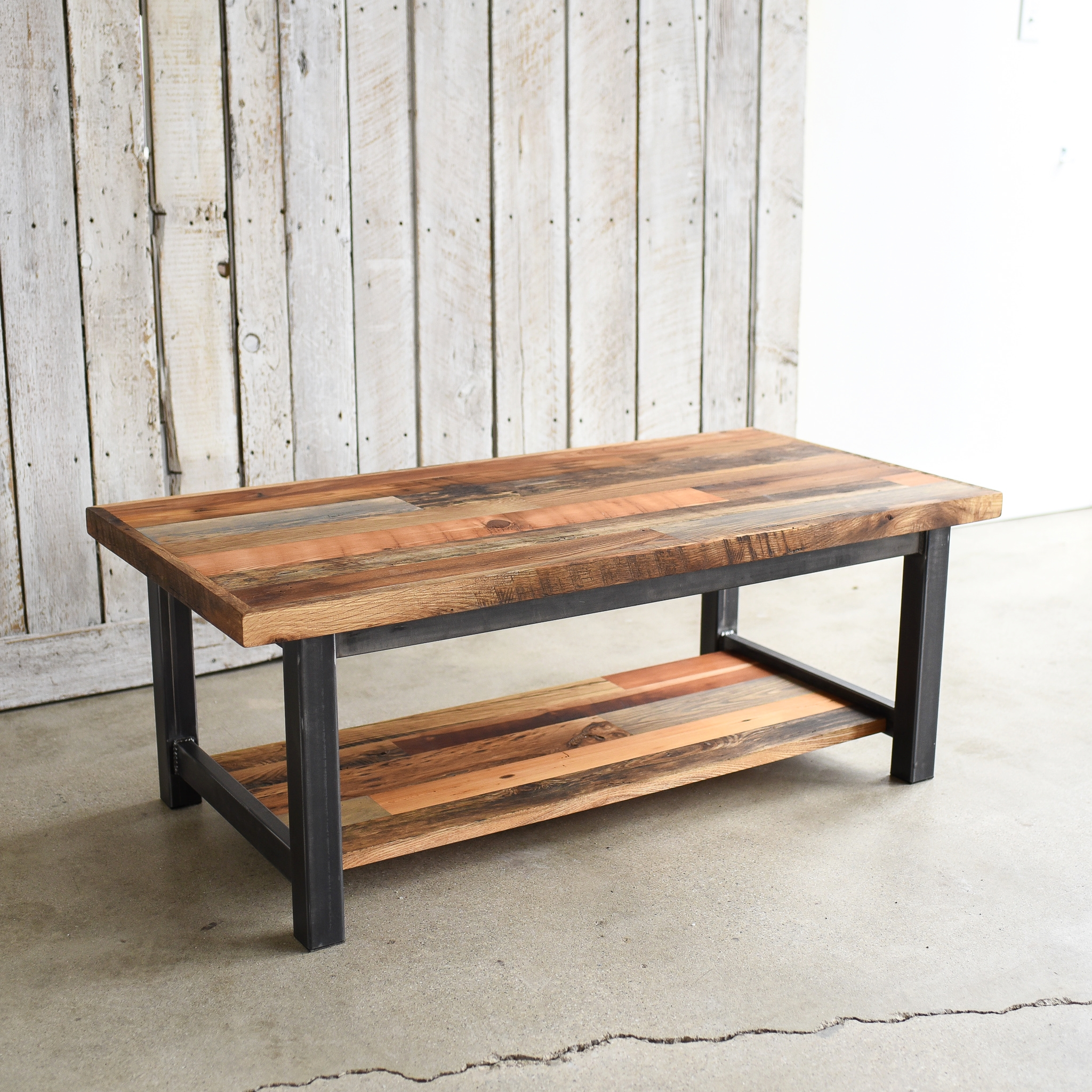 industrial reclaimed wood patchwork coffee table lower shelf what we make
