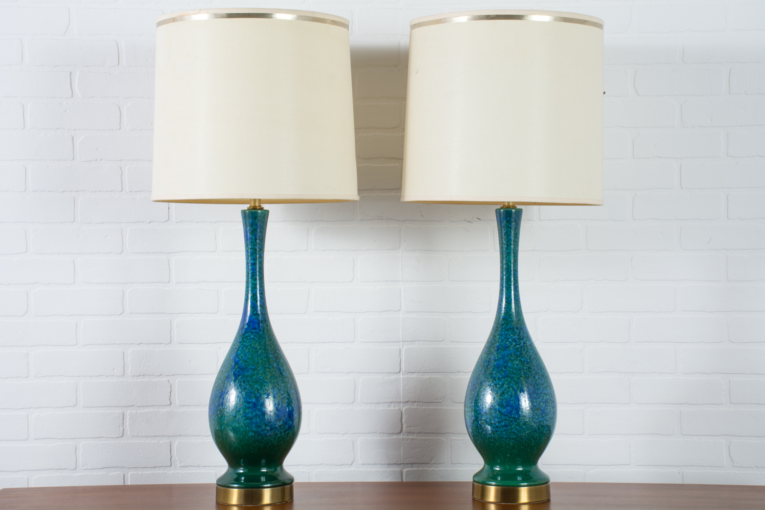 Pair Of Vintage Mid Century Blue And Green Ceramic Table Lamps 1960s Mid Century Modern Finds
