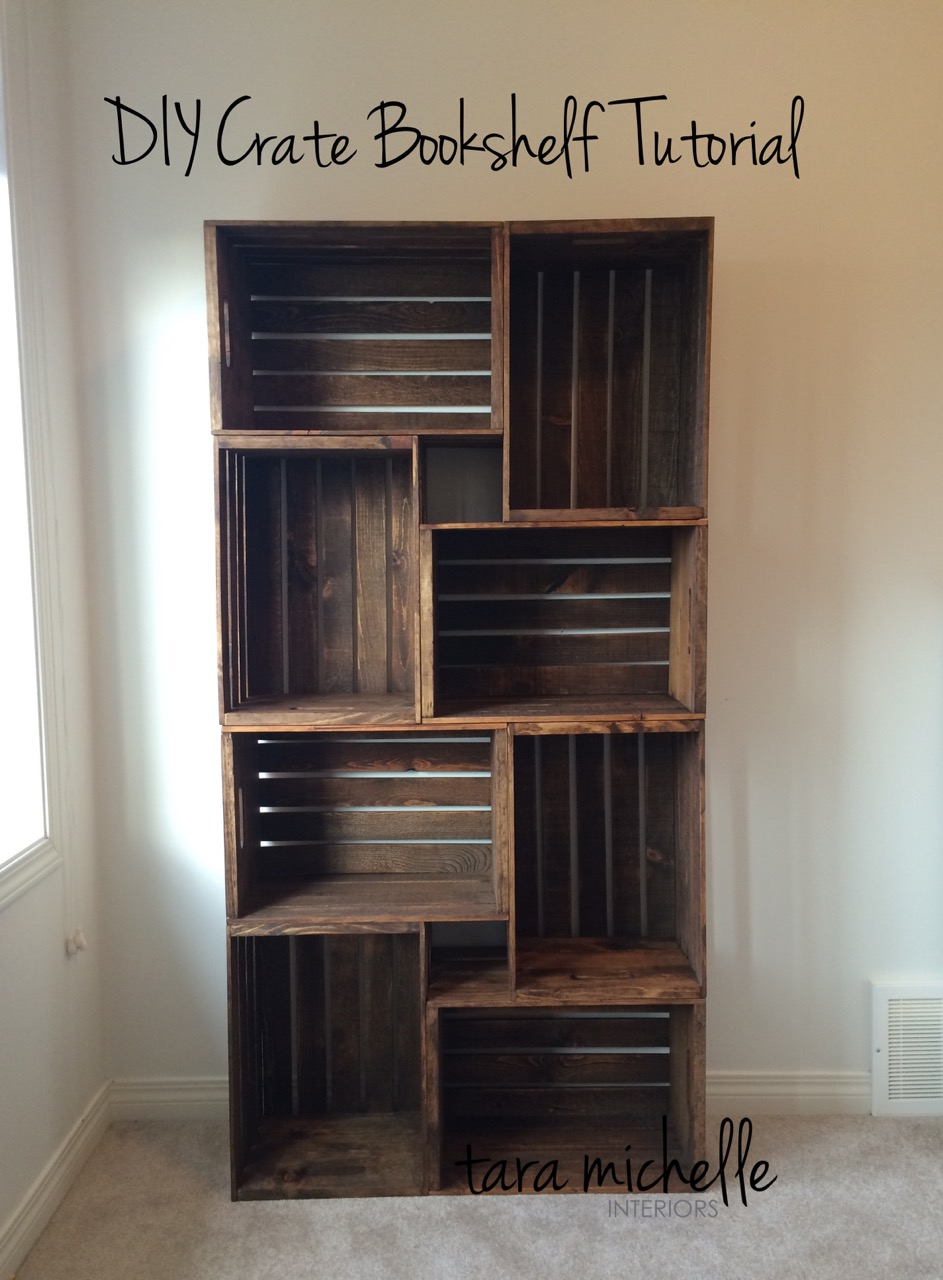 Diy Crate Bookshelf Tutorial Tara Michelle Interiors