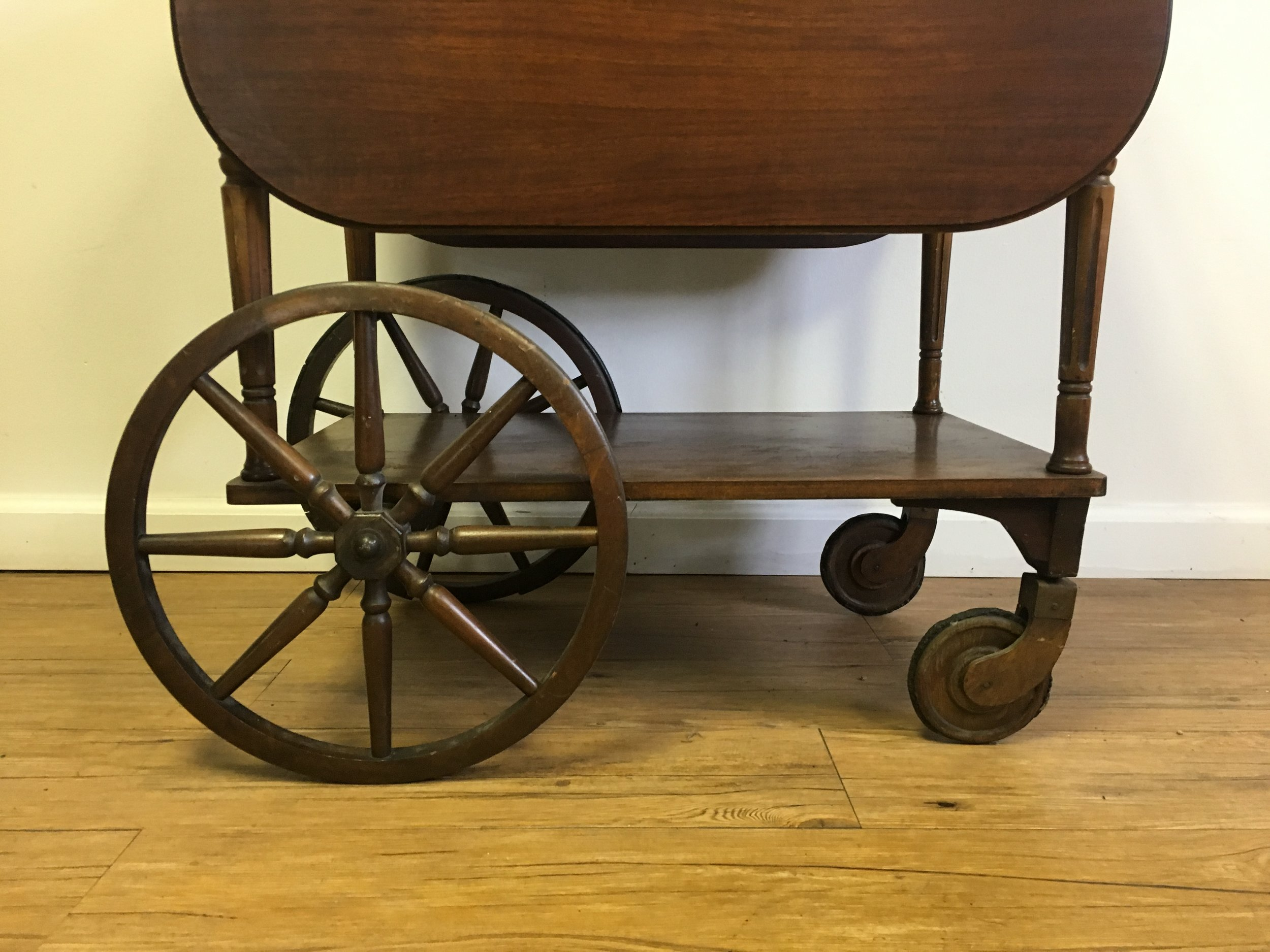 antique serving cart with