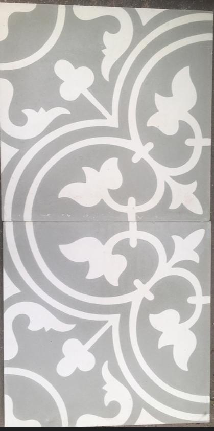 moroccan grey and white fleur de lys tile 20 cm x 20 cm bourkeshire interiors interior design decoration