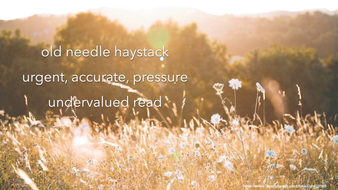 old needle haystack    urgent, accurate, pressure    undervalued read