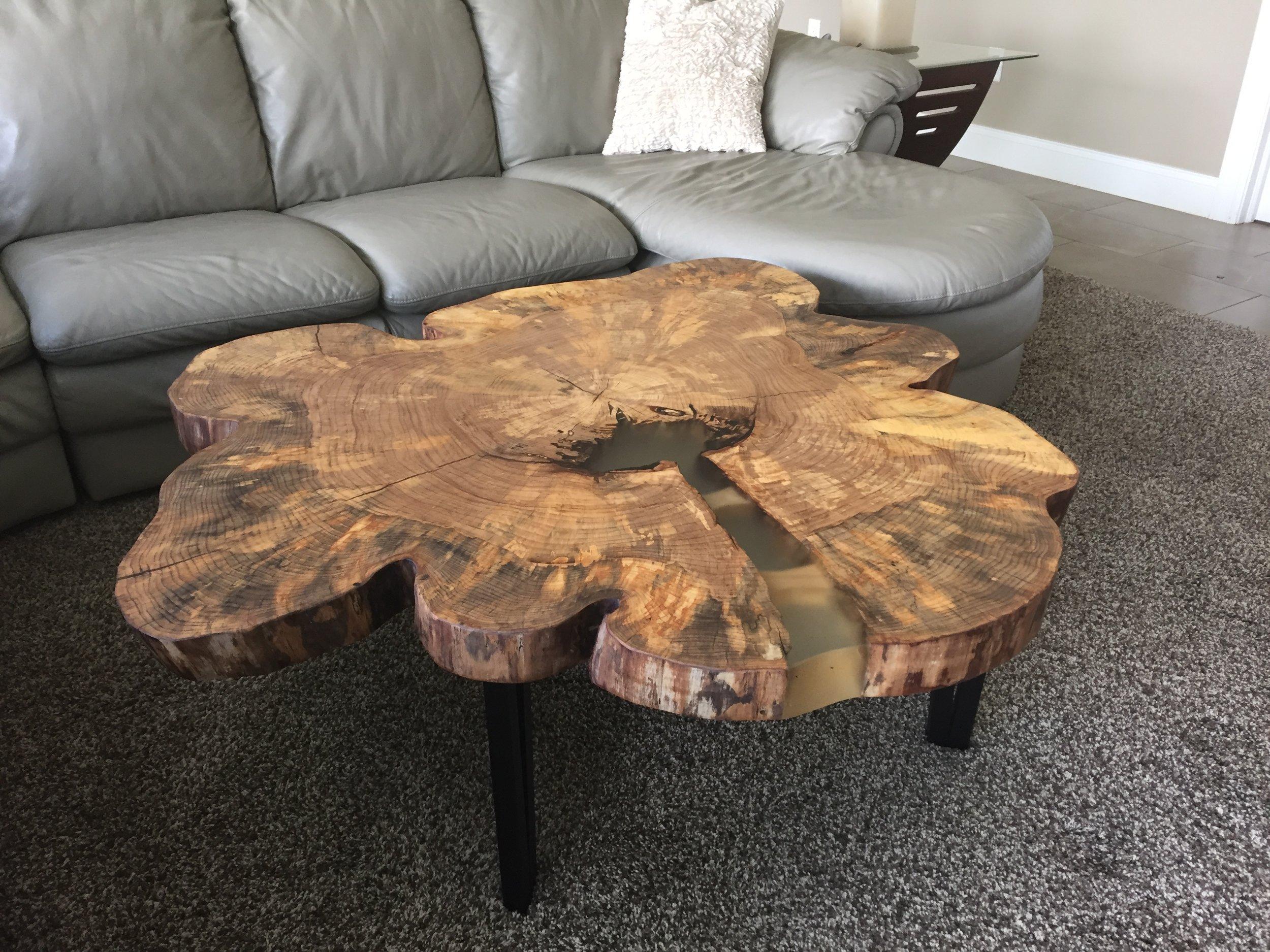 elm round coffee table 360 degree live edge tree purposed detroit michigan live edge slabs reclaimed wood