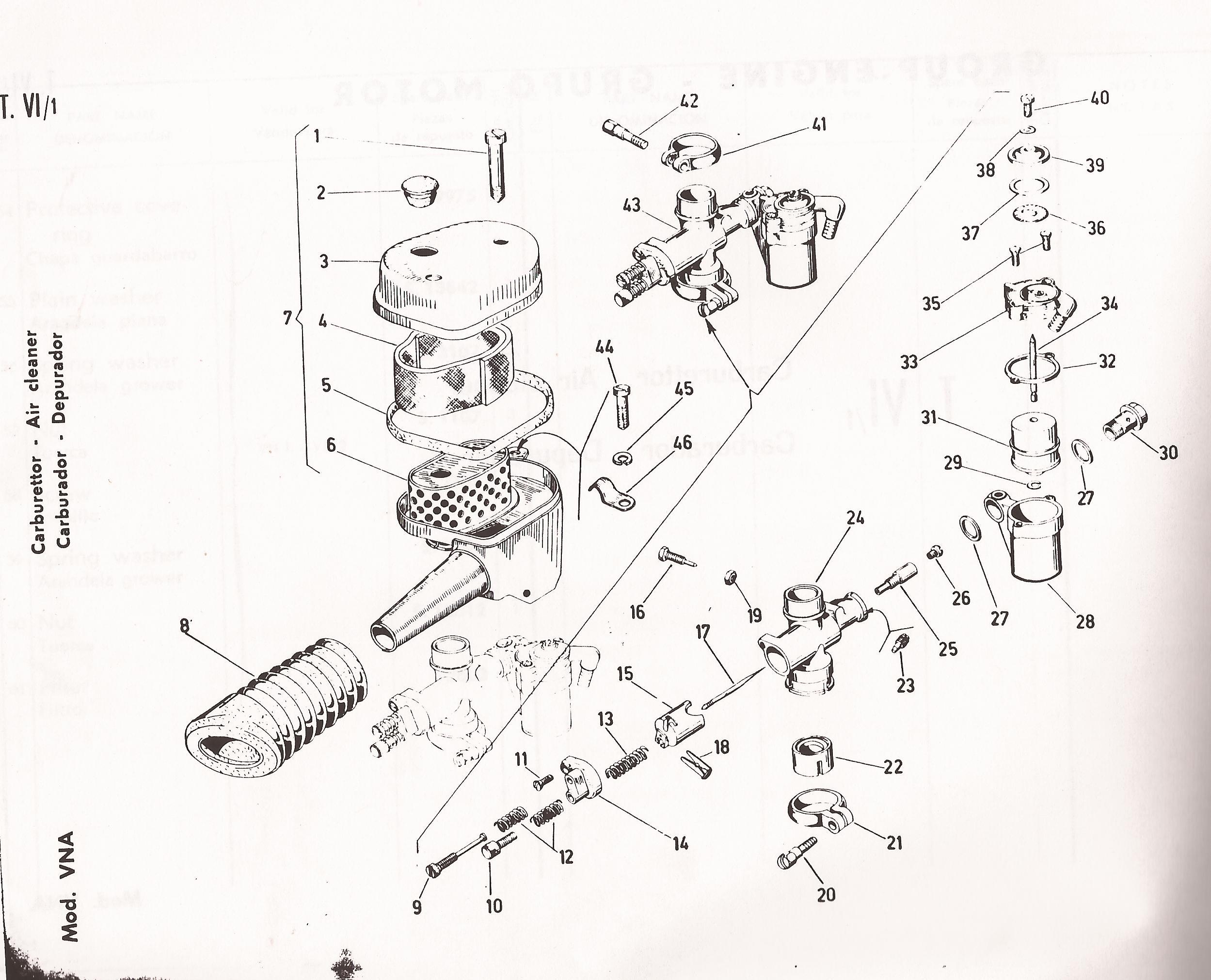 Vespa 125 Spare Parts VN1 VN2 VNA1 VNA2 VNB1 VNB2 VNB3