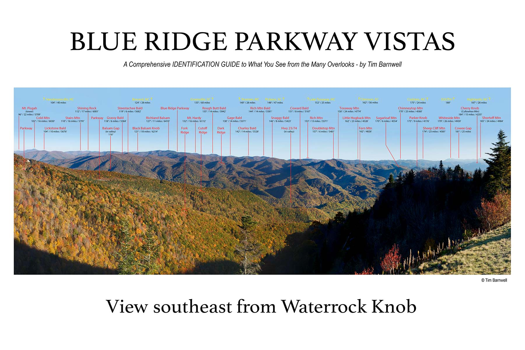 blue ridge parkway vistas great smoky mountains nnational park vistas book signings for saleview se from waterrock knob poster tim barnwell
