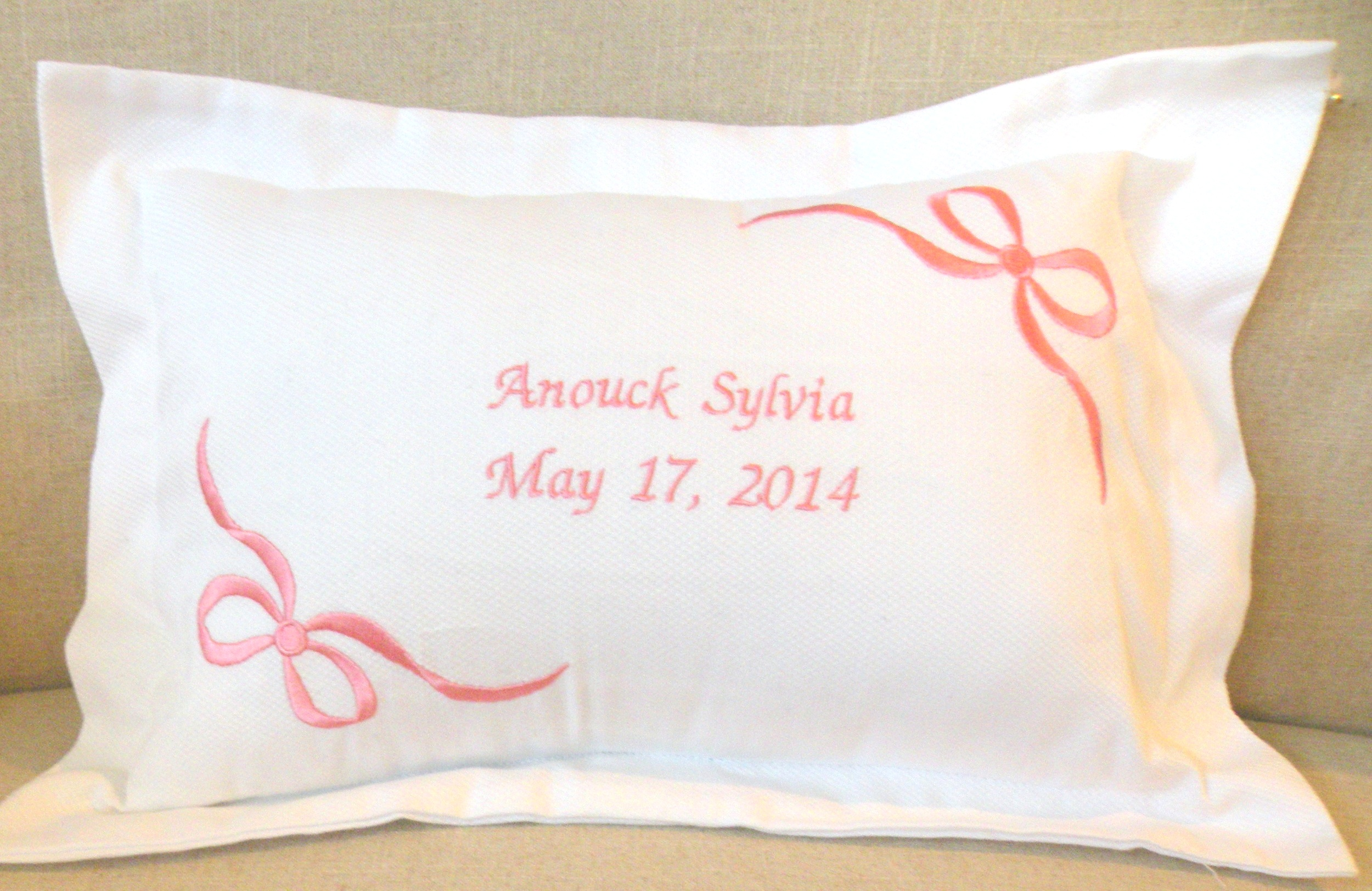 personalized girls baby pillow mostly monograms
