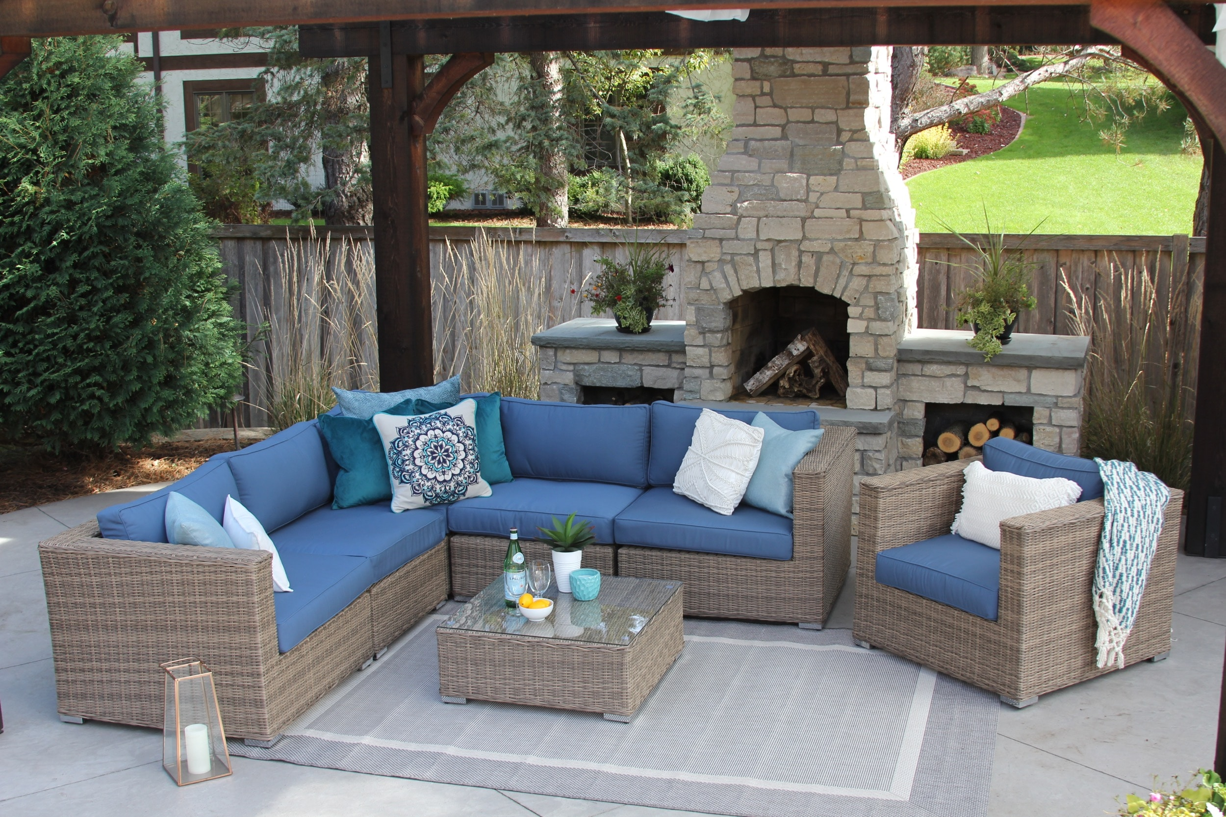 sunbrella addison 7 piece wicker patio sofa sectional meldecco patio furniture