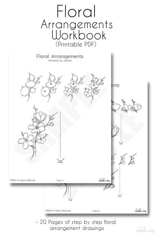 How to Draw Flowers : Step by Step Printable PDF Workbook