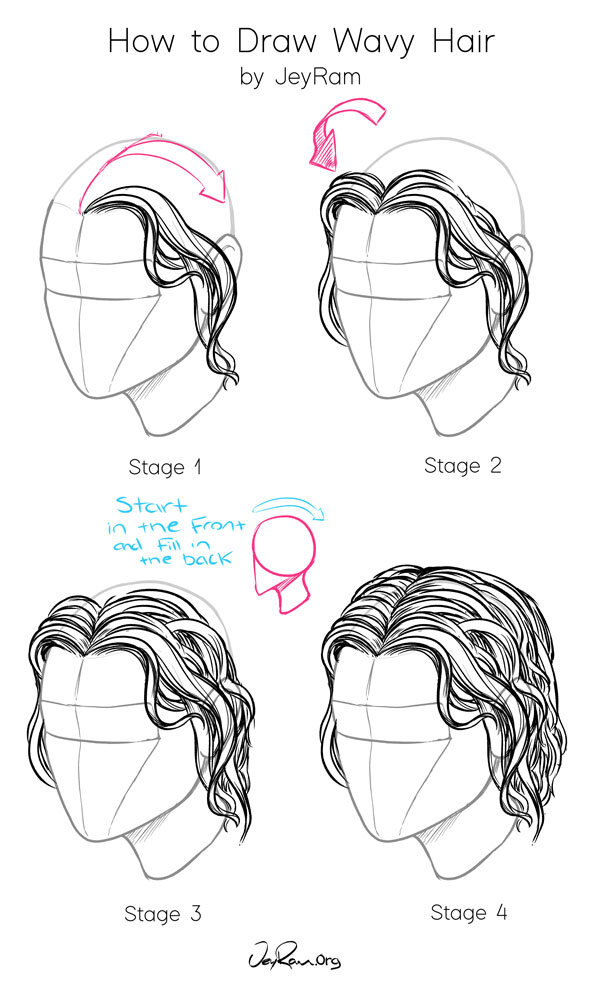 How To Draw Wavy Hair Male : Hair:, Tutorial, JeyRam