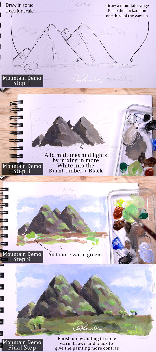 How To Paint Mountains With Acrylics : paint, mountains, acrylics, Paint, Rocks, Mountains, Using, Acrylic, Course, JeyRam