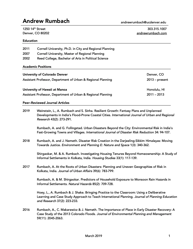 phd cv for academic job doucument