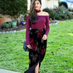 Choker Top Velvet Floral Skirt Miss Minus Sized