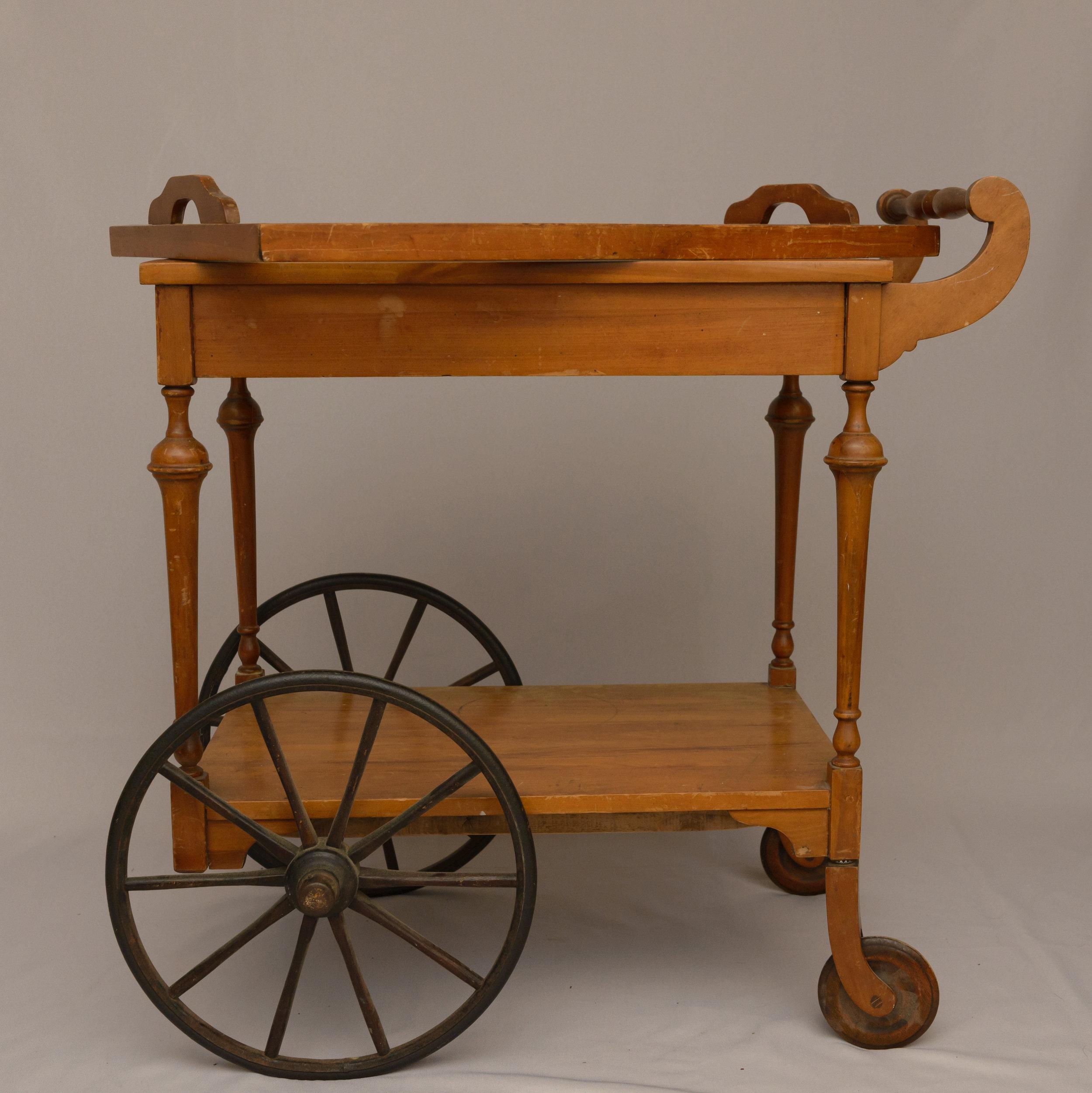 wooden antique tea cart