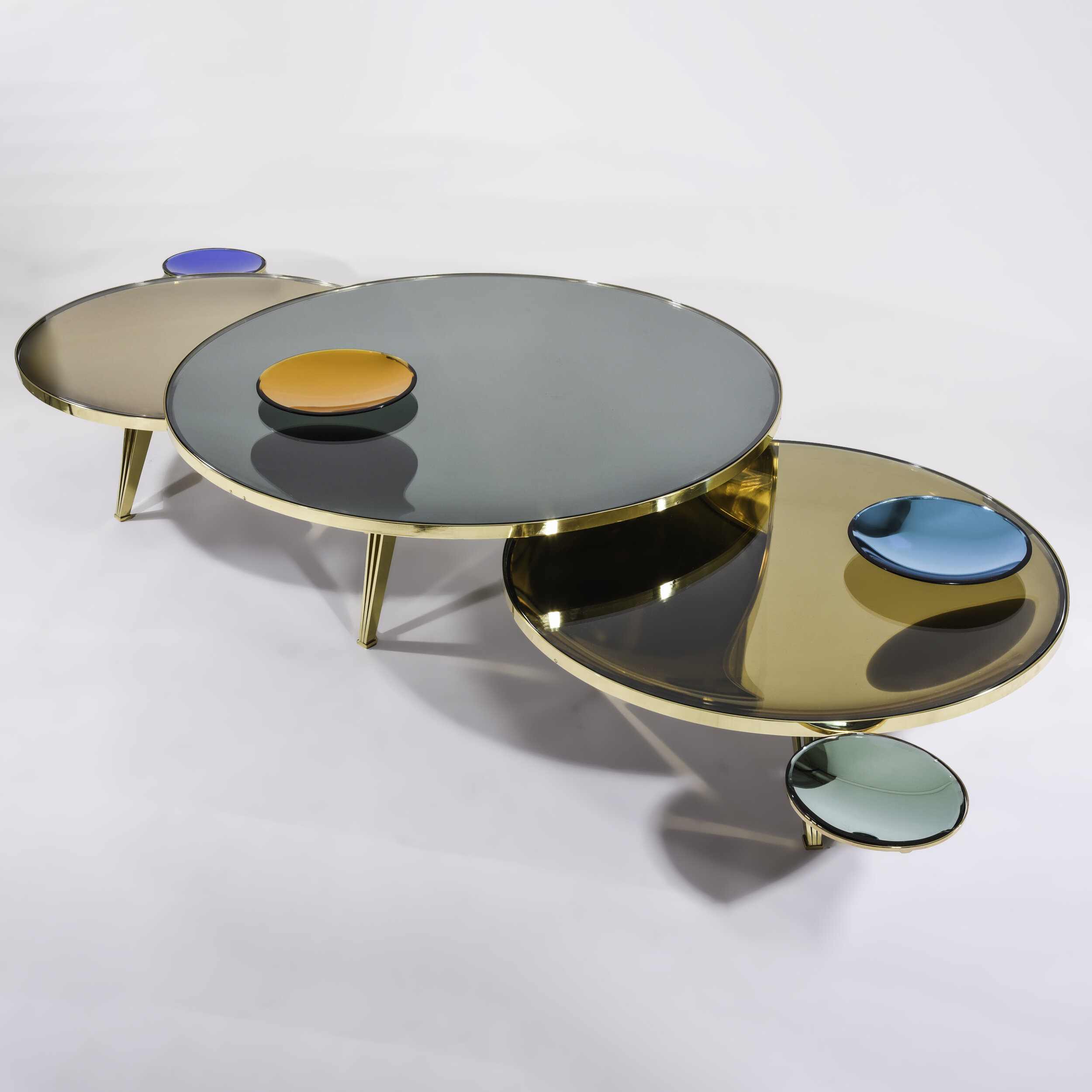 riflesso coffee tables set of three gaspare asaro italian modern italian mid century modern furniture and lighting new york ny