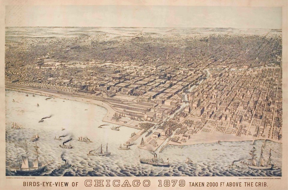 Artist's rendition of Chicago in 1879. Source: Wikimedia Commons.