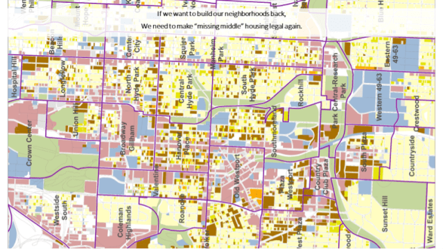 Image: Abby Kinney. Kansas City's Midtown area encompasses our greatest diversity of housing typologies, providing a broader range of prices. The hues of yellow represent a number of different housing types surrounding our mixed-use centers (light red), parks system (green) and civic destinations (blue).