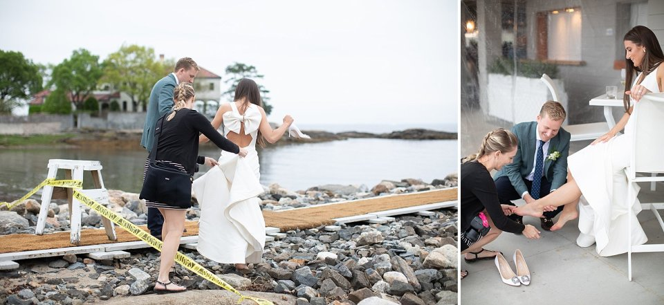 Just a normal day in the office: carrying the wedding dress and cleaning the brides feet from sand!
